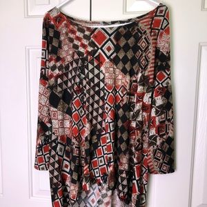 Women's High Low Medium print top